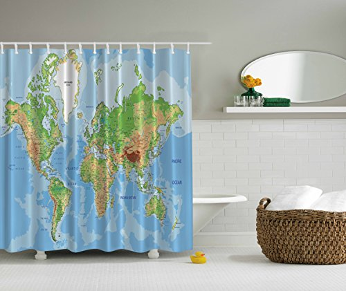 Ambesonne world map print educational geographical earth in my ambesonne world map print educational geographical earth in my bathroom direction ability ocean journeys voyager novelty gumiabroncs Image collections