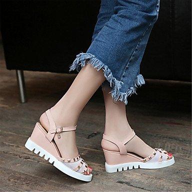 LvYuan Tacón Cuña-Confort Innovador Zapatos del club-Sandalias-Boda Vestido Informal-Materiales Personalizados Semicuero-Azul Rosa Blanco Blue