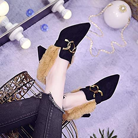 GTVERNH Womens Shoes//Single Shoes Women One Pedal Autumn and Winter Velvet 7Cm High Heels British Style Thick Heels