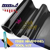 Free Tool Kit Glossy Dark Black Smoke Headlight Taillight Fog Light Side Marker Vinyl Tint Film Self Adhesive