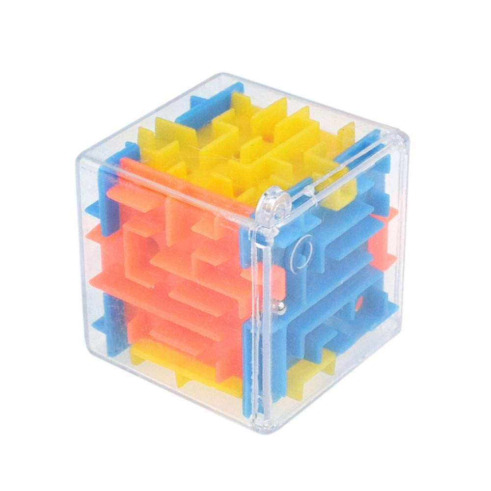 Susun 3D Cube Puzzle Maze Toy Hand Game Case Box Fun Brain Game Challenge Fidget Toys Easter Party Gift (A)