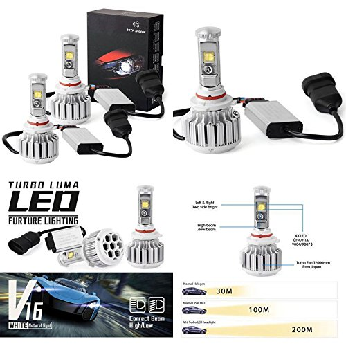 Replacement Hb3 Led Headlight Bulb 4 Side Cob High Beam High Power 80W 8000Lm ✅