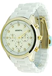 Women's Geneva White Acrylic Chrono Dial Boyfriend Watch Gold Case CZ Markers