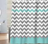 Sunlit Design Chevron Shower Curtain, 72 x 72-inch, Gray/Aruba