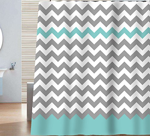 Sunlit Design Chevron Shower Curtain, 72 x 72-inch, Gray/Aruba by Sunlit