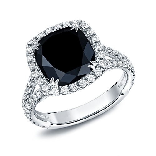 18k White Gold Cushion-cut Black Diamond Halo Engagement Ring (3 1/3 cttw, Black G-H, VS1-VS2)5.5-7.5