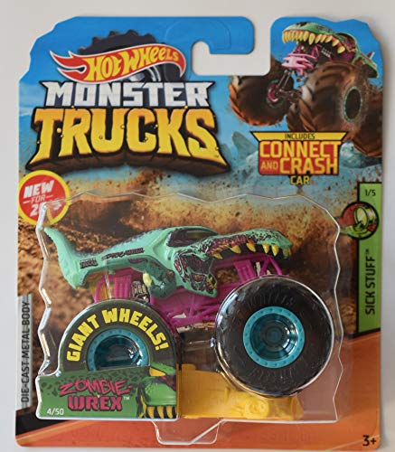 Monster Truck HOT Wheels 1:64 Scale Sick Stuff 1/5, Zombie WREX 4/50 Includes Connect and Crash CAR (Zombie Wheels)