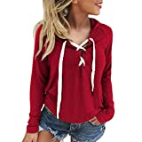Vcenty Solid Hoodie Sexy V-Neck Pullover Tops Long Sleeves Shirts Casual Sweatshirt Blouse for Womens (Red, M)