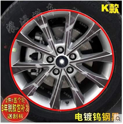 Black Brightly Plated Rims Wheels Sticker with Red Rings Carbon Fibre for Ford Mondeo Z2CA494  (color Name  Mixed color B)