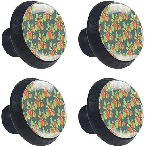 Drawer Knobs Green Fruit Guava Pattern Sweet Cabinet Drawer Pulls Handle Crystal Glass Round 4pcs DIY Dresser Wardrobe Bookcase Cupboard Knob with Screws for Home Office