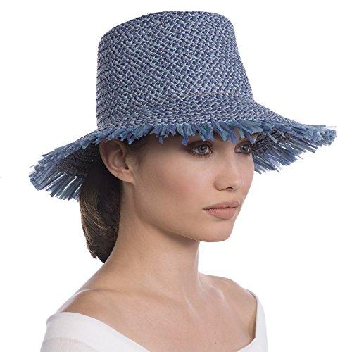 Eric Javits Luxury Fashion Designer Women's Headwear Hat - Tiki Bucket - Denim by Eric Javits