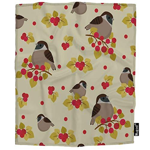 (Mugod Sparrow Throw Blanket Cute Nice Animal Bird Sparrow Sitting on Branch Berries Leaf Soft Cozy Fuzzy Warm Flannel Blankets Decorative for Baby Toddler Swaddle Dog Cat 30X40 Inch)