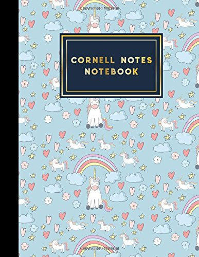 Cornell Notes Notebook: Cornell Note Taking Pad, Cornell Notes Paper, Note Taking Templates, Cute Unicorns Cover, 8.5