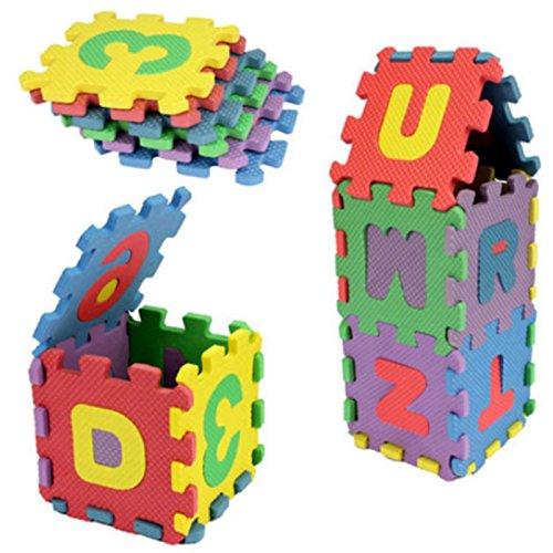 FEDBNET Puzzle Toys 36Pcs Colourful Mini Size Puzzle Alphabet A-Z Letters Numeral Foam Mat Educational Toy (Each Mat Size :66CM)