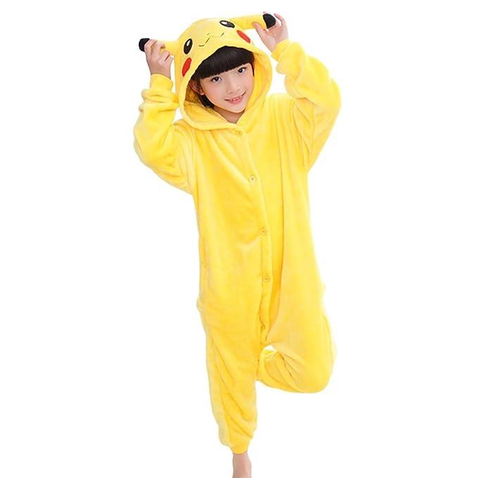 d3639fe537 MissFox Kigurumi Pijamas Unisexo Niños Traje Disfraz Niños Animal Pyjamas  Pikachu 125  Amazon.es  Ropa y accesorios