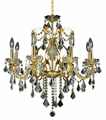 Elegant Lighting 2015D26G/RC St. Francis 23-Inch High 8-Light Chandelier, Gold Finish with Crystal (Clear) Royal Cut RC Crystal - 26' Height Table Lamp