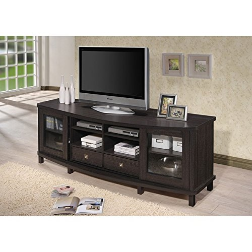 2 Door Contemporary Cabinet (Baxton Studio Udder Contemporary 70-Inch Dark Brown Wood TV Cabinet with 2 Sliding Doors and 2)