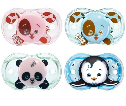 RazBaby Keep-It-Kleen Pacifiers - Pack of 4 (Pink Puppy, Percy Blue, Panky Panda & Ethan Penguin)