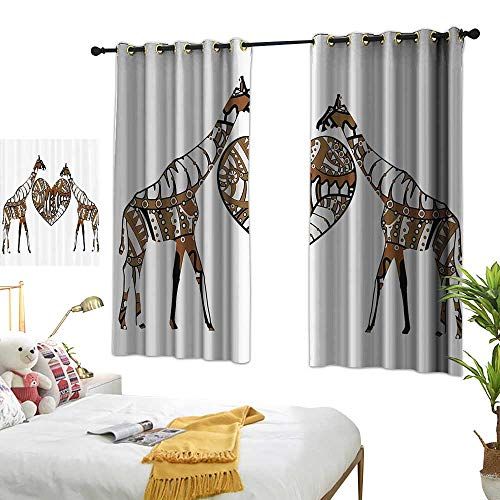 Warm Family Decor Curtains African Decorations Soul Mate Giraffes with A Giant Heart Valentines Love in Nature Bohemian Print Noise Reducing 63