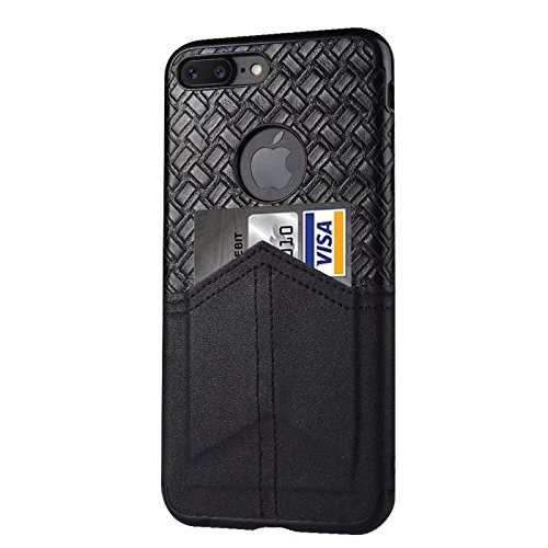 iPhone 7 Plus 8 Plus Wallet Case by FUUNSO - Woven Leather Card Case with Magnet, Slim Anti-fingerprint Protective Leather Back Cover with Card Holder Slots for Men Women, - Magnet Card Holder