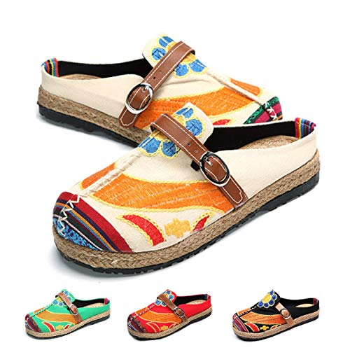 (Tezoo Walking Slip-On, Women's Summer Breathable Blackless Walking Shoes, Colorful Sun Flower Series Embroidered Shoes, Outdoor Leisure Garden Clogs, House Slipers, Scandals Beige 12)