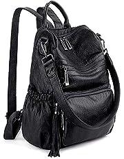UTO Women 3 Ways Backpack Ladies PU Washed Leather Daypack Rucksack Shoulder Bag Multi Compartment Sturdy Zipper Back Anti Theft Pocket Tassels Decoration Black