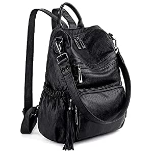 UTO Women 3 Ways Backpack Ladies PU Washed Leather Daypack Rucksack Shoulder Bag Multi Compartment Sturdy Zipper Back Anti Theft Pocket Tassels Decoration Black