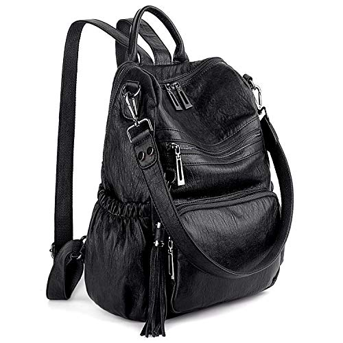(UTO Women Backpack Purse PU Washed Leather Convertible Ladies Rucksack Tassel Zipper Pocket Shoulder Bag A Black)