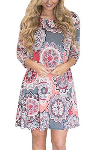 - Vemubapis Womens Tunic Shirts Dress 3/4 Sleeve Round Neck Floral Boho Mini Dresses 2 4XL