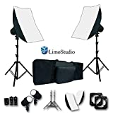 LimoStudio 2 Sets of Flash Strobe Lighting Kit, Flash Light, Softbox, Diffuser, Light Stand Tripod, Softbox Connector, Radio Sync Transmitter & Receiver, Heavy Duty Carry Bag, Photo Studio, AGG1995