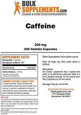 Bulksupplements Caffeine Capsules 200 mg 300 Gelatin Capsules