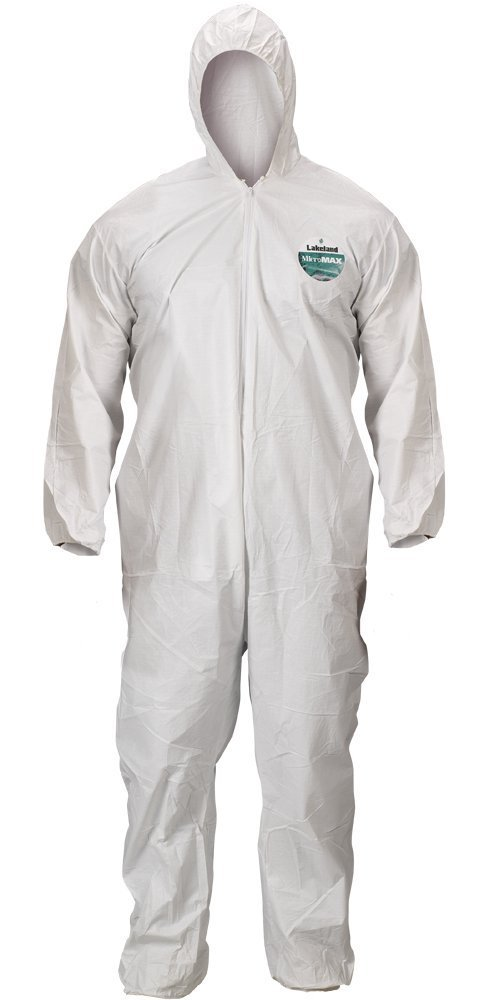 Lakeland MicroMax Microporous General Purpose Disposable Coverall with Hood, Elastic Cuff, 2X-Large, White (Case of 25) by Lakeland Industries Inc (Image #2)