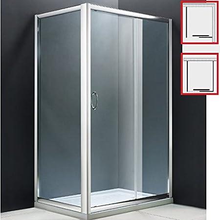 Box/cabina ducha de vidrio templado de seguridad de 6 mm para ángulo o centro pared (2 o 3 lados) con ruedas - Material: acero - Dimensiones: 90 / 100 / 110 x