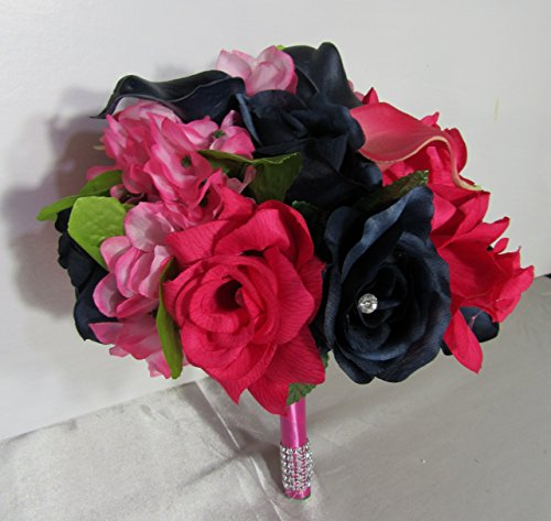 Fuchsia Navy Blue Rhinestone Rose Calla Lily Bridal Wedding Bouquet & Boutonniere