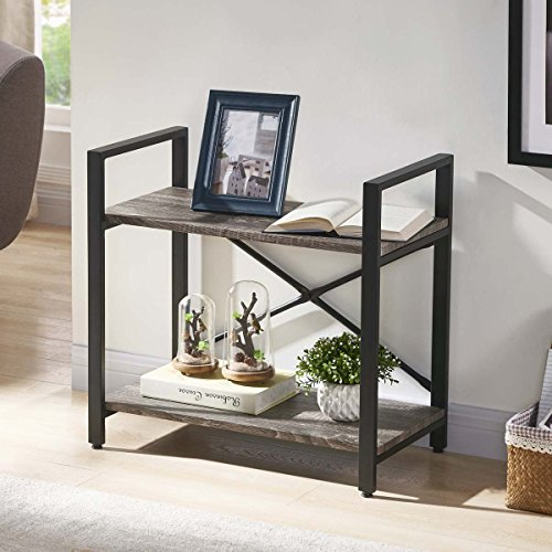 - BON AUGURE Small Low 2-Shelf Bookcase, Rustic Etagere Bookshelf, Small Open Shelf, Dark Oak