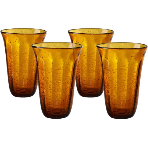 Artland Savannah Amber Bubble Glass 18 Ounce Highball Tumbler, Set of 4