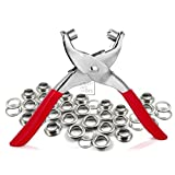 "CRAFTMEmore 1/4"" Grommet Eyelet Setting Pliers with 100 Silver Aluminium Grommets (1/4"", Silver Grommets)"