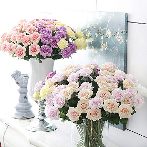 BOZLIZ-Real-Touch-Real-Touch-Rose-Flowers-Home-Wedding-Decoration-11pcs-Lot-Fresh-Artificial-Open-Bouquet-Orchids-Small-Latex-Peonies-Sunflowers-Artificial-Green-Dollar-Gardenia-Ye