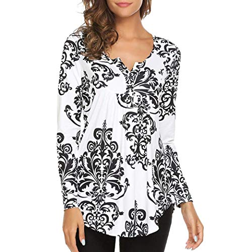 - Dressin_Women's Long Sleeve O Neck Floral Tops Ladies Casual Flare Tunic Blouse Shirt