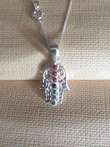 Chakra Pendant Necklace - Semi-Precious Stones Coral, Onyx, Jade - 925 Sterling Silver - Gift Box - Semi Onyx Precious