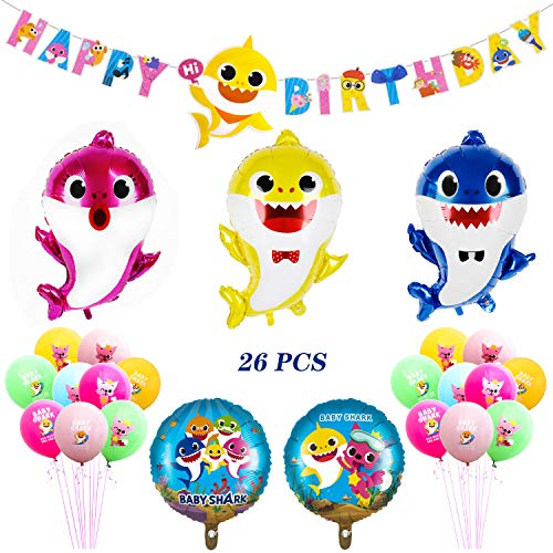 Boecn Shark Party Supplies - Balloons, Banner Favors Pack Set for Birthday Party Decorations