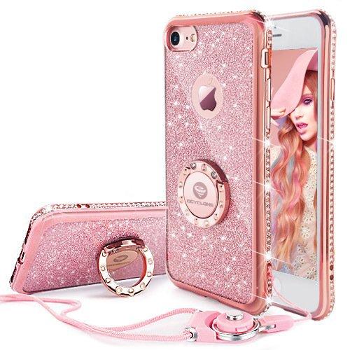 11 opinioni per Cover iPhone 6 Plus/6S Plus Glitter Strass per Ragazze,Neck Strap e Kickstand