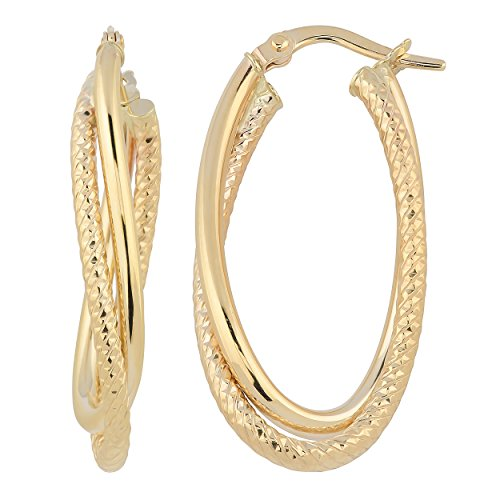 Kooljewelry 10k Yellow Gold Twisted Double Oval Hoop Earrings ()