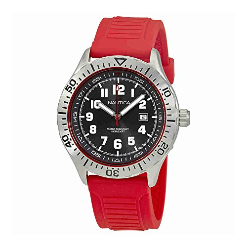 Nautica Men's 'NSR 105' Quartz Stainless Steel and Silicone Casual Watch, Color:Red (Model: NAD12536G)