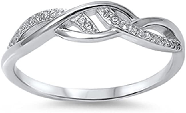 925 Sterling Silver Marquise CZ Beautiful Band Ring Size 4-10