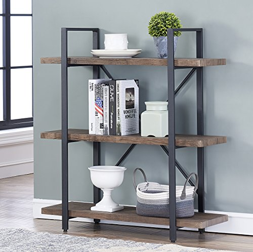 O&K Furniture 3-Shelf Industrial Bookcase and Book Shelves, Free Standing Storage Display Shelves, Brown