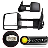 ECCPP Passenger Left Driver Right Tow Mirrors Pair Set Side LED Signal Power Heated Side View Mirrors Manual Telescoping Black Towing Mirrors for 2007-2016 Toyota Tundra (Pair Set) (A Pair)