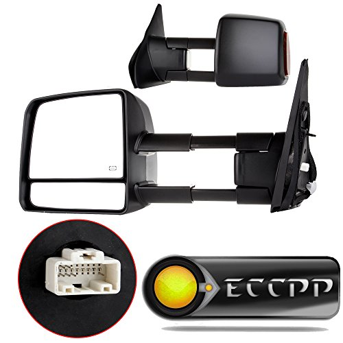 (ECCPP Passenger Left Driver Right Tow Mirrors Pair Set Side LED Signal Power Heated Side View Mirrors Manual Telescoping Black Towing Mirrors Replaceme fit 2007-2016 Toyota Tundra (Pair Set) (A)
