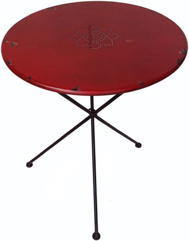 : milanari Metalltisch Breno rot, klappbar, Ø 60 cm