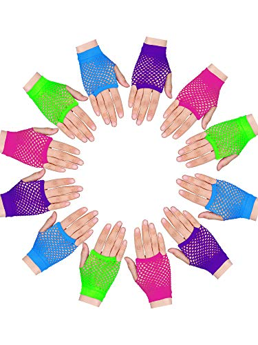 Tatuo 12 Pairs Fingerless Fishnet Gloves Neon Punk Wrist Glove for 80's Theme Party Supplies, Blue, Pink, Green and Purple -